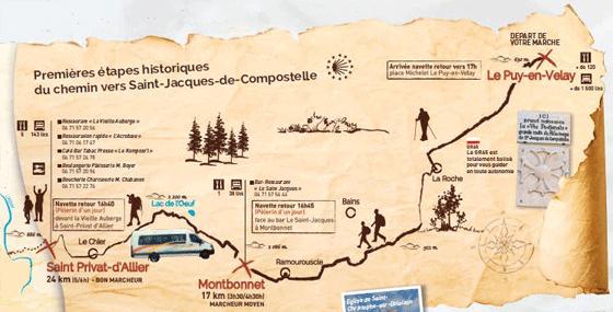 carte du chemin de compostelle de puy-en velay 1ère étape Chemin de St Jacques : Le Puy   Saint Privat